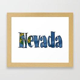 Nevada Font with Nevadan Flag Framed Art Print