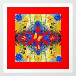 RED GARDEN  BLUE FLOWERS YELLOW BUTTERFLIES Art Print