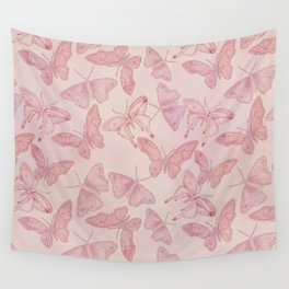 Butterfly Pattern soft pink pastel Wall Tapestry