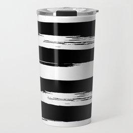 Paint Stripes Black and White Travel Mug