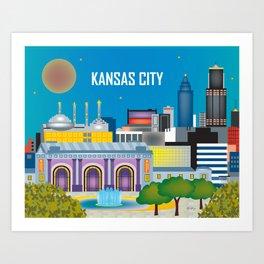 Kansas City, Missouri - Skyline Illustration by Loose Petals Art Print