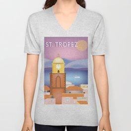 St. Tropez, France - Skyline Illustration by Loose Petals Unisex V-Neck