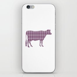 Cow: Purple Plaid iPhone Skin