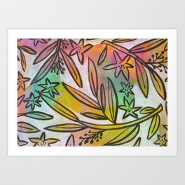 Bright Colorful Jungle Canopy Art Print