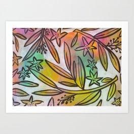 Bright Colorful Jungle Canopy Art Print
