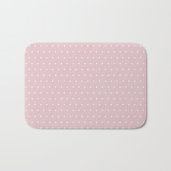 Polka dot dance on pink - White dots pattern Bath Mat