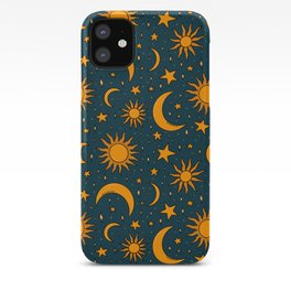 Vintage Sun and Star Print in Navy iPhone Case