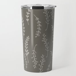 Simple Botanical Pattern in Gray Monochrome Travel Mug