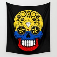colombia Wall Tapestries featuring Sugar Skull with Roses and Flag of Colombia by Jeff Bartels
