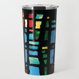 Stained Glass - Colorful Multi-Color Glass Design Travel Mug