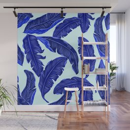 Banana leaves tropical leaves blue white #homedecor Wall Mural