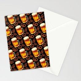 Beer & Pretzel Pattern - Black Stationery Cards