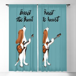 Basset the Bassist (Blue-Gray) Blackout Curtain