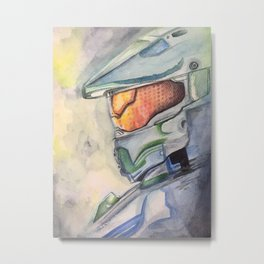Halo gaming watercolor design Metal Print