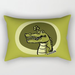 cartoon style green crocodile Rectangular Pillow