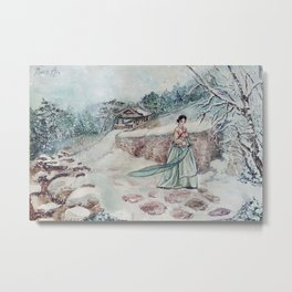 Korean Winter (Watercolor painting) Metal Print