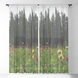 Mount Rainier Wildflower Adventure III - Pacific Northwest Mountain Forest Wanderlust Sheer Curtain