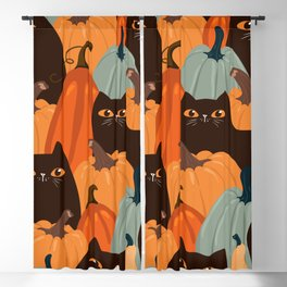 Cute seamless pattern with black cats and pumpkins. Trendy autumn colors. Vintage illustration Blackout Curtain