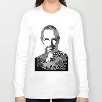 steve jobs Long Sleeve T-shirts featuring Steve Jobs Doodle by Rebecca Bear