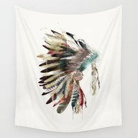 headdress Wall Tapestries featuring native headdress by bri.buckley