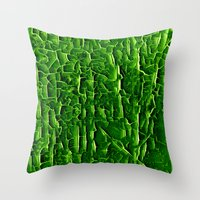 vegetable Throw Pillows featuring green vegetable by clemm
