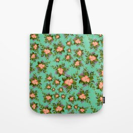 Watercolor Flowers on teal background Tote Bag