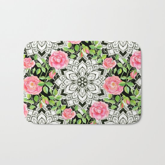 Peach Pink Roses and Mandalas on Black and White Lace Bath Mat