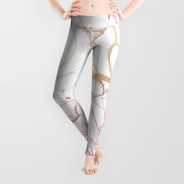 Abstract romantic pink print. Flowers on white Leggings