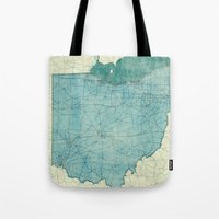 ohio state Tote Bags featuring Ohio State Map Blue Vintage by City Art Posters