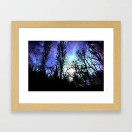 Black Trees Periwinkle Blue Lavender SPACE Framed Art Print