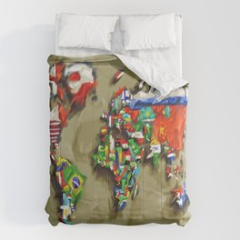 world map with flags vintage 2 Comforters