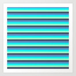 blue colored pattern horizontal stripes Art Print
