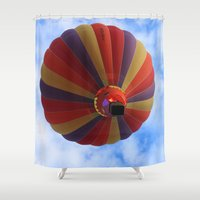 aviation Shower Curtains featuring Balloon  by Christine baessler