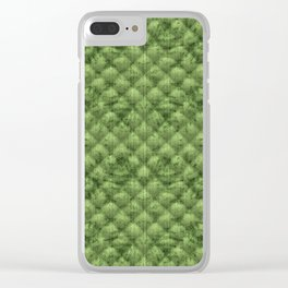 Quilted Bright Leaf Green Velvety Pattern Clear iPhone Case