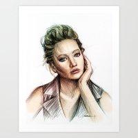 jennifer lawrence Art Prints featuring Jennifer Lawrence by Creadoorm
