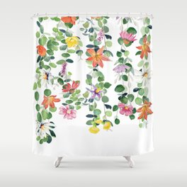 Flowers and Eucalyptus Garland Shower Curtain