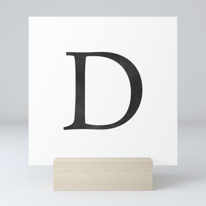 Letter D Initial Monogram Black and White Mini Art Print