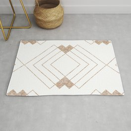 Geometrical rose gold abstract elegant triangles pattern Rug