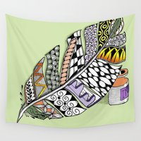pen Wall Tapestries featuring Zentangle Pen and Ink Illustration by Vermont Greetings