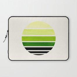 Sap Green Mid Century Modern Minimalist Circle Round Photo Staggered Sunset Geometric Stripe Design Laptop Sleeve