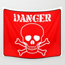 Red Danger Sign Wall Tapestry