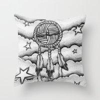 dream catcher Throw Pillows featuring Dream catcher by DeMoose_Art