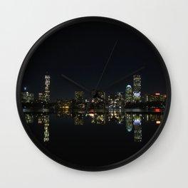 Boston Skyline at Night Wall Clock