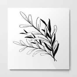 Entwined Sketched Branches in Black and White Metal Print