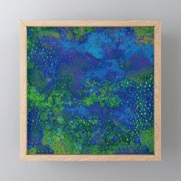 Cool Vintage Splatter - Green/Blue Framed Mini Art Print