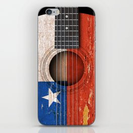Old Vintage Acoustic Guitar with Chilean Flag iPhone Skin
