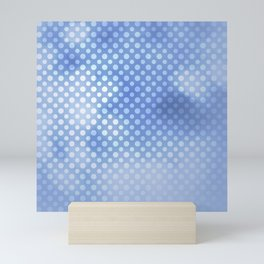 White polka dots on serentiy blue with bokeh texture Mini Art Print