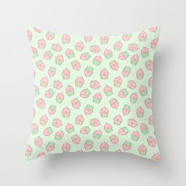 Doodle cupcake pattern on a mint green background Throw Pillow