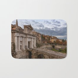Side view of Porta San Giacomo and the walls of the upper city of Bergamo Bath Mat