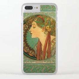Alphonse Mucha Laurel Clear iPhone Case